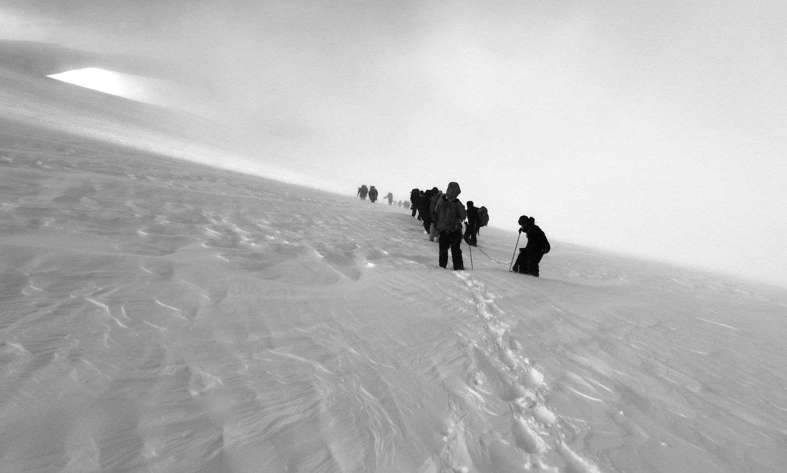 Climbers in a Monte Rosa White Out
